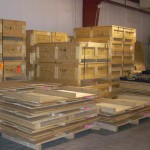 Returnable crates awaiting their return trip overseas!